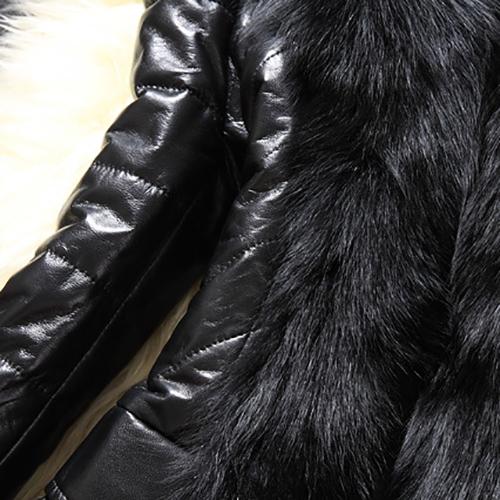 Trendy mangas largas Patchwork Negro Faux pieles abrigo