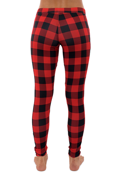 Elegante meia cintura Plaids Printed Red Polyester Leggings