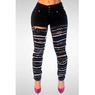 Jeans In Denim Nero Decorativi Con Paillettes E Vita Alta
