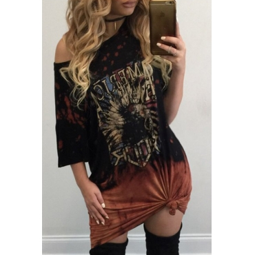 Casual Round Neck Half Sleeves Printed Black Polyester Mini Dress