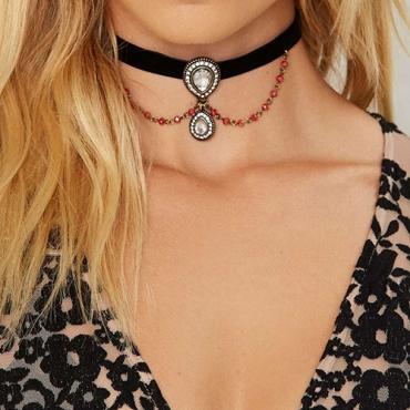 Vintage Tassel Hollow-out Black Flocking Necklace