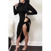 Sexy Turtleneck Long Sleeves High Split Black Cott