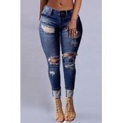 Stylish High Waist Broken Holes Dark Blue Denim Jeans