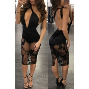 Sexy V Neck Sans manches Backless Black Polyester Robe Longueur au genou