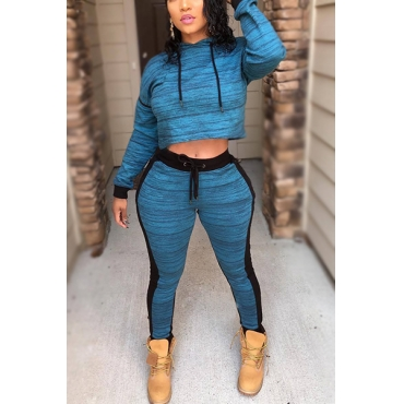 Leisure Hooded Neck Long Sleeves Patchwork Blue Cotton Blend Two-piece Pants Set
