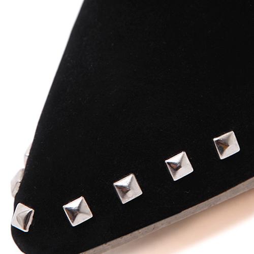 Модный заостренный закрытый носок с заклепками Декоративный шпилька на высоком каблуке Черная замша с короткими заклепками