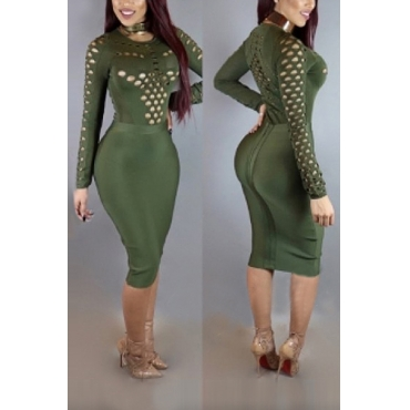 Sexy Round Neck Long Sleeves Hollow-out Army Green Qmilch Sheath Knee Length Dress