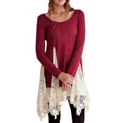 Cotton Casual O neck Long Sleeve Mini Dresses