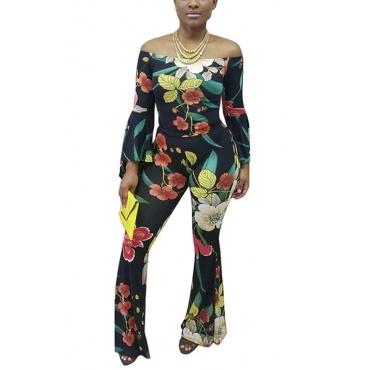 Charming Bateau Neck Long Sleeves Floral Print Black Polyester Two-piece Pants Set