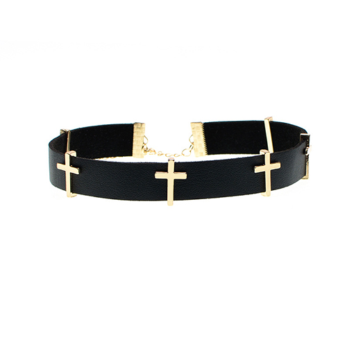Fashion Cross Decoration Black Punk Metal Necklace