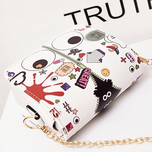 Fashion Zipper Design White PU Messenger