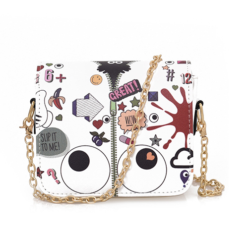 Fashion Zipper Design Weiß PU Messenger