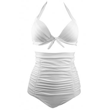 Sexy V Neck High Waist White Nylon Two-piece Swimwear