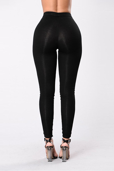 LovelyStylish High Waist Hollow-out Black Polyester Leggings