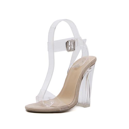 Elegante Pointed Toe Oco-out Stiletto Super High Heel Apricot PU sandálias
