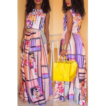 Multi Healthy Fabric Skirt Print O neck Sleeveless ...