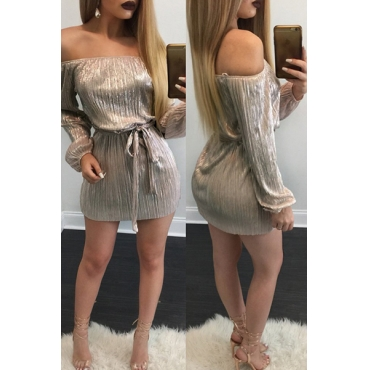 Sexy Bateau Neck Long Sleeves Lace-up Gold Polyester Mini Dress