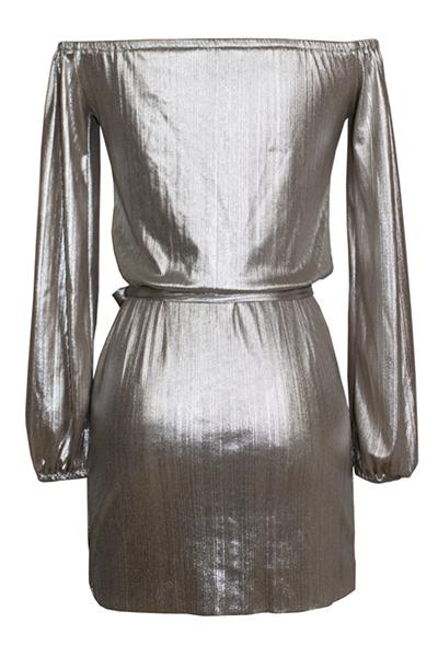 Cuello sexy de manga larga encaje de encaje-up mini vestido de poliéster de oro