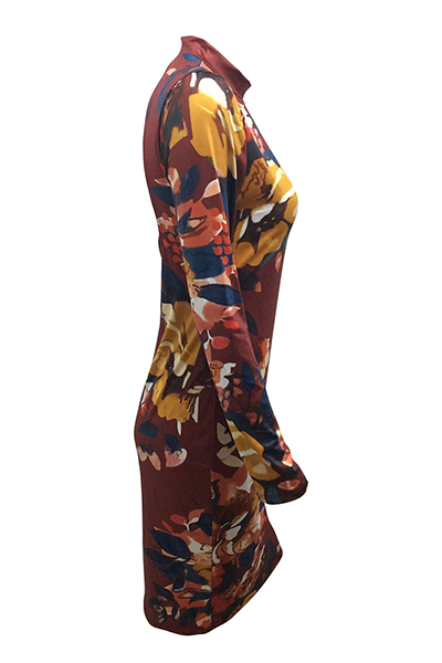 Qmilch Sexy O neck Long Sleeve Sheath Knee Length Dresses