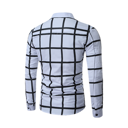 Cardigan Cotton Blends Turndown Collar Long Sleeve Plaid Men Clothes