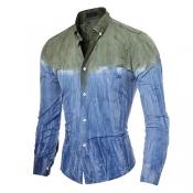 Cardigan Cotton Turndown Collar Long Sleeve Patchw