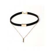 Black Multi-storey Design Flocking Choker