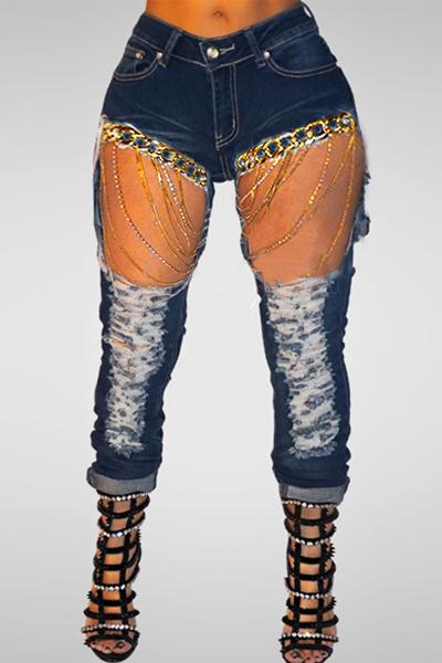 LovelyTrendy Mid Waist Broken Holes Metal Chain Decorative Cotton Pants
