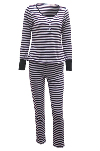 Leisure V Neck Long Sleeves Striped Cotton Blend Two-piece Pants Set