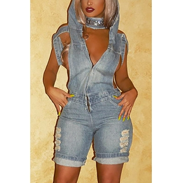 Sexy Hooded Collar Short Sleeves Hollow-out Blue Denim One-piece Loose Jumpsuits