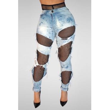 Botão Jeans Com Botão Sólido Jeans Com Calças