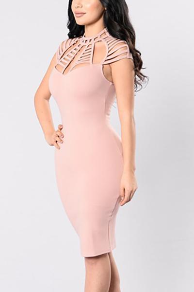 Poliéster atractiva O vestidos de cuello longitud de la rodilla sin mangas de la envoltura