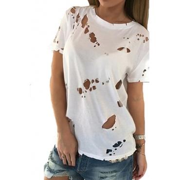 Pullovers Poliéster O Pescoço manga curta Solid T-camisa