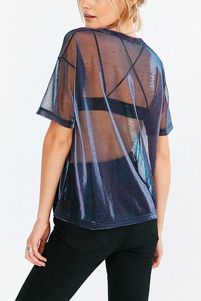 Pullovers Nylon O cuello manga corta camiseta sólida