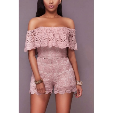 Lace Solid Skinny Jumpsuits