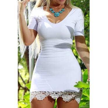 Trendy V Neck Short Sleeves Lace Trim Patchwork White Cotton Sheath Mini Dress