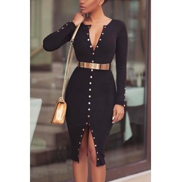 Knitting Fashion O neck Long Sleeve Knee Length Dresses