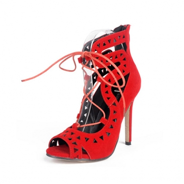 Fashion Pointed Peep Toe Lace-up Hollow-out Stiletto Super High Heel Red Suede Strap Sandals