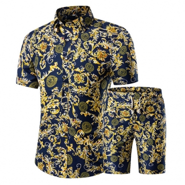 Stylish Mandarin Collar Short Sleeves Printed Yellow Cotton Blends Two-piece Shorts Set