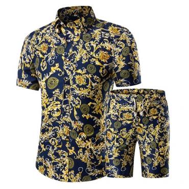 Stylish Mandarin Collar Short Sleeves Printed Yellow Cotton Blends Two-piece Shorts Set for men
