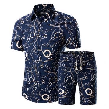 Stylish Mandarin Collar Short Sleeves Printed Blue Cotton Blends Two-piece Shorts Set