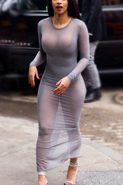 Polyester Sexy O neck Long Sleeve Sheath Ankle Length Dresses (Without Lining)