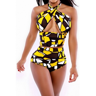 Sexy Bandage Backless Yellow Nylon Two-piece Swimwear