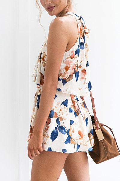 Figure color Cotton Shorts Print O neck Sleeveless Bohemian Two Pieces