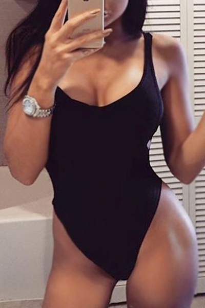 Sexy U-shaped Neck Hollow-out Black Cotton One-piece Swimwear