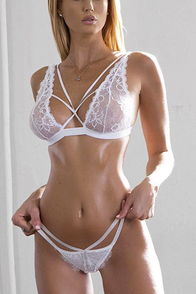 Sexy Hollow-out White Bud Silk Sexy Lingerie