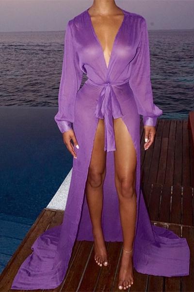 Euramerican Long Sleeves Lace-up Purple Chiffon Cover-Ups