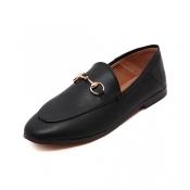PU Round Toe Closed Toe Vintage Basic Low Heel Fla