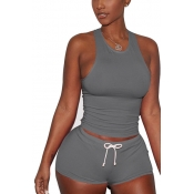 Lovely Grey Cotton Blend Shorts Solid U Neck Sleev