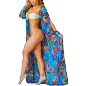 Trendy Long Sleeves Printed Hollow-out Blue Chiffon Cover-Ups