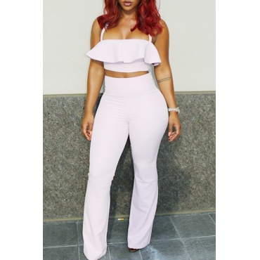 Trendy Sleeveless Falbala Design White Qmilch Two-Piece Pants Set